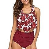 Pacrate Bikini Damen Set Geteilter Badeanzug Rüschen Zweiteilige Bademode mit Bikini High Waist Retro Hoher Taille Strandkleidung Bikinihose (Dunkelrot, M)