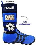 alles-meine.de GmbH 1 Stück _ XL Foto _ Filzstrumpf -  3-D Effekt - Fußballschuhe - BLAU / SCHWARZ - mit austauschbaren Foto  - incl. Name - 45 cm - Fotosocke - Deko - Stollens..