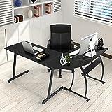 Office Corner Desk Coavas L-Shaped Office Wood Desk Large Corner PC Gaming Desk Table Computer Desk Workstation for Home and Office Use, Black