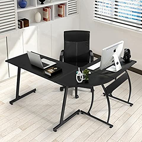 Office Corner Desk Coavas L-Shaped Office Wood Desk Large Corner PC Gaming Desk Table Computer Desk Workstation for Home and Office Use, Black