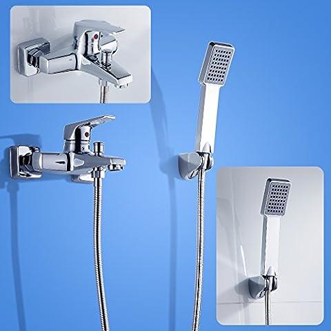 KINNLO Haus 8 pollici soffione doccia contemporanea (20 x 20 cm) cromato doccia in ottone cromato soffione sistema a pioggia soffione a pioggia cabina doccia soffione doccia Doccia Set - Pannello Guarnire