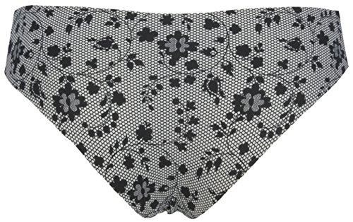 Ex Store Slinky Kniehohe brasilianische Slips, nahezu unsichtbar 5 Pack Black Flowers