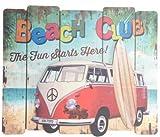 AVENUELAFAYETTE Tableau bois Van - Plage - Vintage - 59 x 49,5 cm (Rouge)