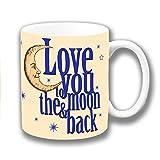 Liebe Dich zu den Moon & Back Creme Dunkelblau Keramik Kaffee Tasse Weihnachtsgeschenk Strumpf Füller