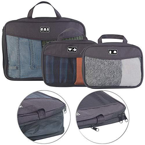 Semptec Urban Survival Technology Kofferorganizer: 3-teiliges Kompressions-Kleidertaschen-Set füs Reisegepäck, 2 Größen (Organizertasche für Koffer)