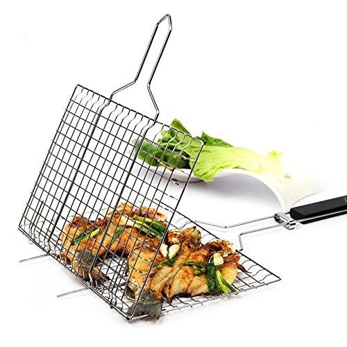 Antihaft-Grill Rack Outdoor-Camping Grill Rack BBQ-Clip-Ordner Grill Braten Ordner Korb Werkzeug Fleisch Fisch Gemüse BBQ-Tool