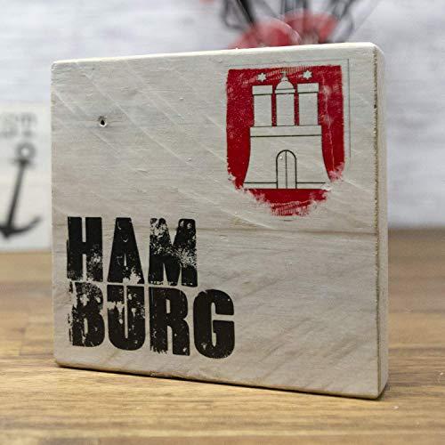 elbPLANKE - Hamburg | 9,5x9,5 cm | Holzbilder von Fotoart-Hamburg | 100% Handmade aus Holz (Palette/Kiefer/Fichte/Birke) -