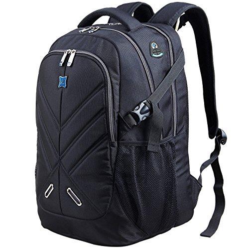 Laptop Rucksack 17 Zoll mit Regenschutz Durchlass für wasserdicht als Daypack für Buisiness schul Reisetasche für Männer and Frau schwarz by OUTJOY