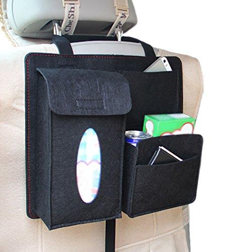Chytaii Auto Rücksitztasche Rückenlehnenschutz Rücksitz Organizer Filz Aufbewahrungstascge KFZ Rückenlehnen Tasche Auto Utensilientasche für Auto Fahrzeuge Schwarz