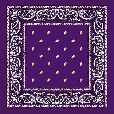 DEEP PURPLE Bandana with square Paisley pattern