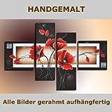 HANDGEMALT: 4 LEINWANDBILDER BILDER [MOHN 4] 100 x 70cm. Bilder auf Holzrahmen gespannt und und kann SOFORT aufgehangen werden!