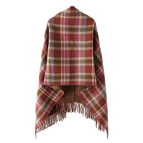 Tenchif Cru Plaid tricoté Poncho Cardigan à manches châle pour femmes C