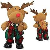 lux.pro] singendes & tanzendes Rentier 30cm Weihnachts Deko Weihnachten Figur Elch Stoff