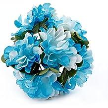 3cm Head Mini doble color Artificial flores artificiales flores de papel para decoración de regalo DIY Scrapbooking Corona, azul, 12 unidades