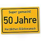 DankeDir! 50 Jahre Stadtschild/Kunststoff Schild - Geschenk 50. Geburtstag, Geschenkidee Geburtstagsgeschenk Fünzigsten, Geburtstagsdeko/Partydeko / Party Zubehör/Geburtstagskarte