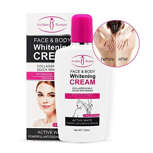 Body Cream, Duvina Feuchtigkeitscreme Körpercreme Gesichtscreme Whitening Cream für dunkle Haut Bleaching aufhellende Körperlotion Whitening Cream Achselhöhle Aufheller Creme(120ml)