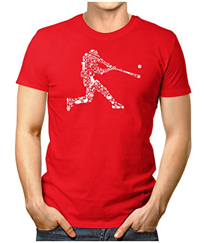 PRILANO Herren Fun T-Shirt - BASEBALL-BATTER - Small bis 5XL - NEU Rot