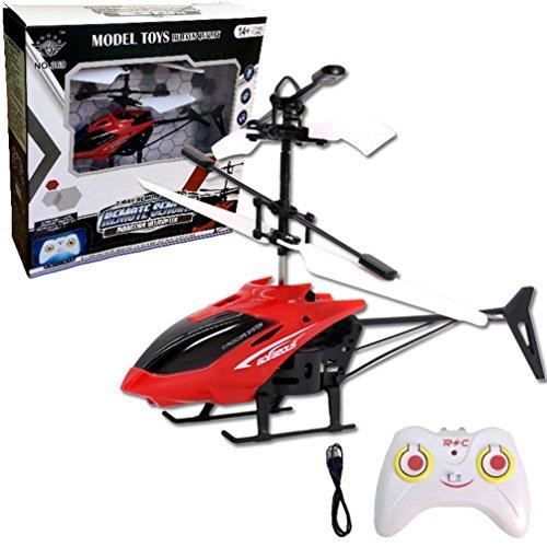 Induktionshubschrauber Sansee Flugzeug Blinklicht Spielzeug für Kinder, Fliegen Mini RC Infraed Induktion Hubschrauber (S1006 Rot, RC 901 2CH)