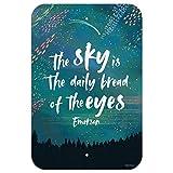 Dozili The Sky is The Daily Bread of The Eyes Emerson Zitat inspirierendes Heimbüro Schild aus Aluminium 8' x 12' einfarbig