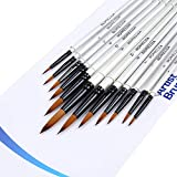 Paint Brushes 12 Pieces Set, Professional Fine Tip Paint Brush Set Round Pointed Tip Nylon Hair Artist Acrylic Brush for Acrylic Watercolor Oil Painting (12-Round-White)