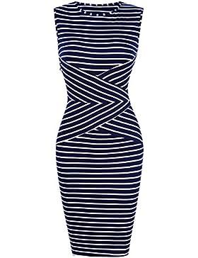 KoJooin Damen Elegant Gestreiftes Kleid Jerseykleid Figurbetontes Streifenkleid Etuikleid Knielang Ärmellose