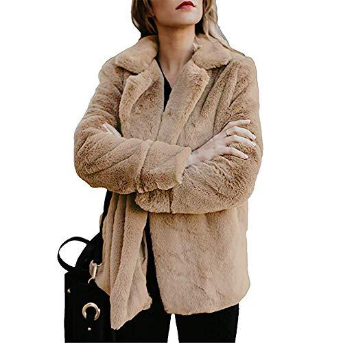 Briskorry Plüschmantel Damen Winter Warme Fleece Mantel Steppjacke Wintermantel Frauen Beiläufig Wollmantel Plüschjacke Cardigan Mit Taschen