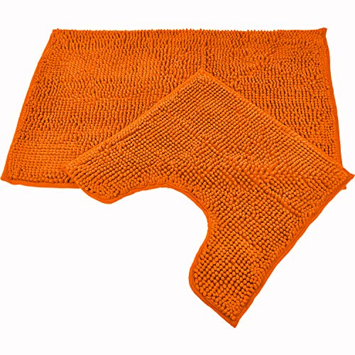 WohnDirect Badematten Set • WC Vorleger (45x45cm), Badematte (50x80cm) • rutschfest waschbar Badezimmerteppich MIT WC-Ausschnitt - Orange