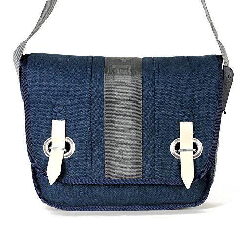 HAB & GUT (E3024A-STRIPE) Big bag-PROVOKED, messenger en toile canvas avec fermeture adhésive bleu marine 35 x 30 cm
