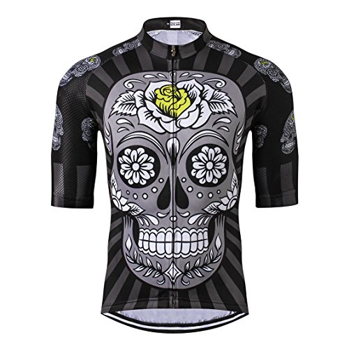 Shenshan Radfahren Jersey Männer Bike Trikot Rennrad Sommer MTB Fahrrad Kleidung Kurzarm T-Shirts Sport Top atmungsaktiv Grau schwarz Größe XXXL