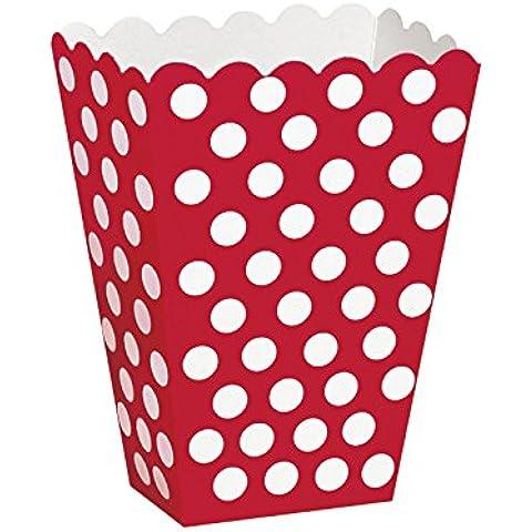 8x Popcorn Treat Box Pois Spot stile scatole favore sacchetti di carta per feste rosso