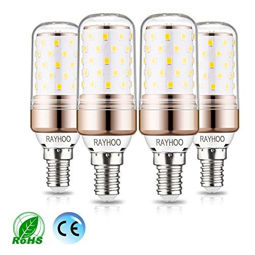 rayhoo E14LED Leuchtmittel, 12W LED Candelabra Glühbirne 100Watt Äquivalent, 1200lm, Tageslicht Weiß 6000K LED Kronleuchter Leuchtmittel, dekorative Kerze Sockel E14nicht Dimmbar LED Lampe, 4Stück