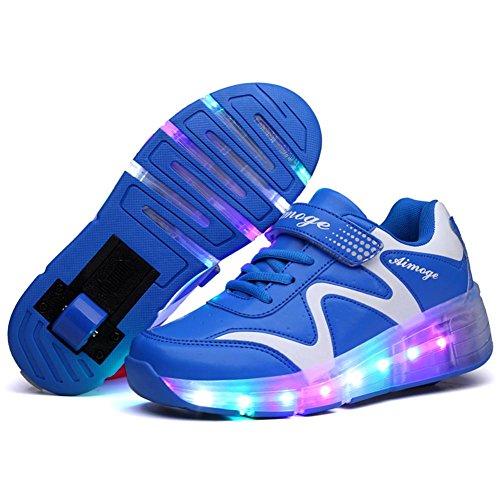 Unisex Skateboard Schuhe Rollschuh LED Lichter blinken Schuhe Räder Schuhe Turnschuhe (EU 33, Blau mit einem Rad) (Skateboards Licht Rädern)