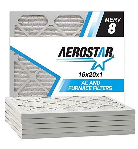 Merv 8(6Pack) AC und Ofen Air Filter von Aerostar 2,5cm, 16x20x1 MERV 8 (20x16x1 Ofen-filter)