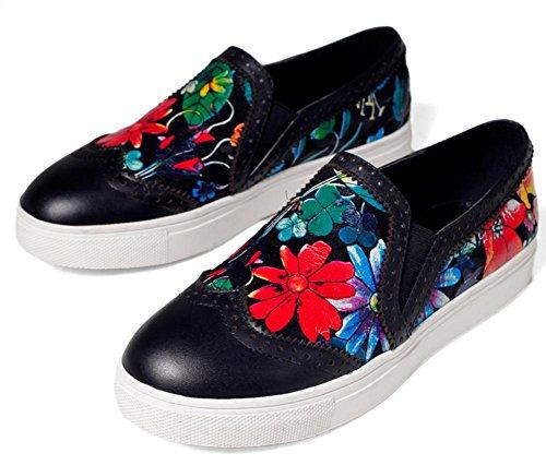 Primavera primo strato di tallone piano di cuoio rotondo profonde scarpe casual floreali nuove donne Black