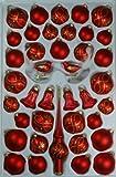 Sortiment mit Formglocken rot matt Ranken 39 Teile Christbaumschmuck Weihnachtsschmuck mundgeblasen,handdekoriert Lauschaer Glas das Original