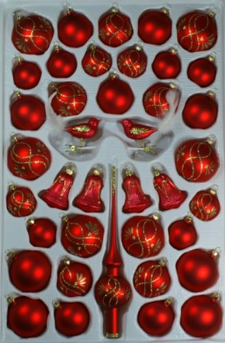 ocken rot matt Ranken 39 Teile Christbaumschmuck Weihnachtsschmuck mundgeblasen,handdekoriert Lauschaer Glas das Original ()