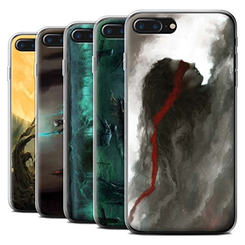 Offiziell Chris Cold Hülle / Gel TPU Case für Apple iPhone 7 Plus / Rotes Band-Engel Muster / Unterwelt Kollektion Pack 5pcs