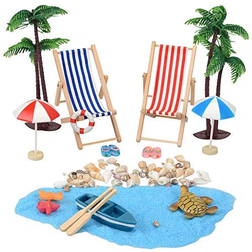 YIKANWEN Deko-Miniatur-Strand, Strand-Mikrolandschaft, Mini-Strand-Accessoires, für Sandkasten, Puppenhaus, Modellbau, Garten, Pflanzen-Dekoration - 17-teiliges Komplettset