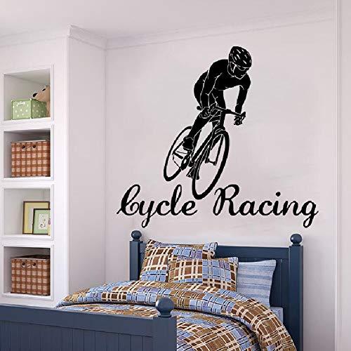Lutscher Wandaufkleber Radfahrer Cycle Racing Sports Athlete Vinyl - Wandaufkleber Kinderzimmer Schlafzimmer Wohnzimmer DIY Hauptdekoration 76X83Cm