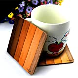 CRAZYINK Premium Wooden Edges Planks Printed Wooden Coasters Set Of 6 (4 Inch X 4 Inch)| Pure Wood | HD Print | Standard Size | Unique For Gift And Home And Office