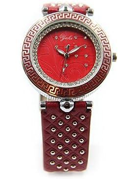 Yaki Neu Damenarmbanduhr Strass Rund Design Quarzuhr Lederband Rot Ziffernblatt
