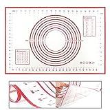 Große Silikon Backmatte (60x40cm), BPA frei, Hitzebeständige Antihaft, 100% Rutschfeste Backunterlage, Silikonmatte, Teigmatte(Rot)