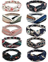 DRESHOW Boho Diademas para Mujeres Flor Vintage Impreso Criss Cross Anudado  Elástico Banda para el Cabello 015847acf2dcd