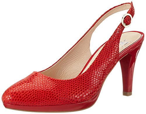 Caprice 29607, Sandales Bout Ouvert Femme Rouge (Red Reptile)