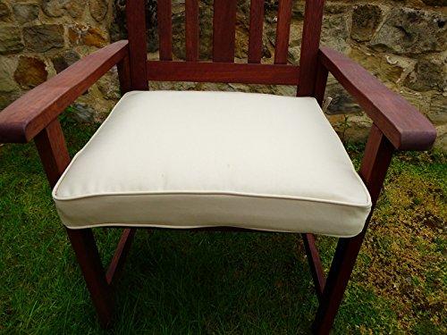 UK-Gardens Cream Beige Deep Large Square Garden Furniture Chair Cushion Seat Pad For Garden Armchair