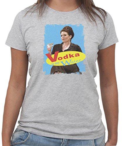 T-Shirt WILL AND GRACE KAREN VODKA IS MY WATER -DIVERTENTE - by New Indastria Grigio
