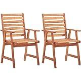 vidaXL 2X Solid Acacia Wood Outdoor Dining Chairs Weather Resistant Durable Slatted Design Garden Backyard Terrace Patio Dinn
