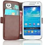 JAMMYLIZARD | Luxuriös Wallet Ledertasche Hülle für Samsung Galaxy S4 Mini, BRAUN