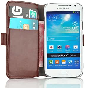 Samsung Galaxy S4 Mini, JAMMYLIZARD Luxuriöse Ledertasche Flip Cover, BRAUN