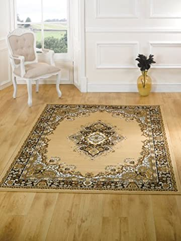 XLarge Traditional Classic Design Beige Rug in 180 x 250 cm (5'11'' x 8'2'') Carpet